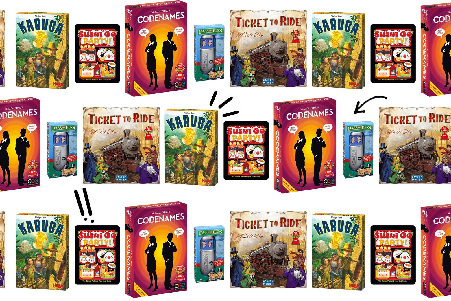 A collage of board game boxes featuring Ticket to Ride, Codenames, Karuba, and more.